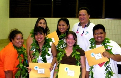 At the Pahoa H.S. awards ceremony: (top left) Tiana-Marie Kahealani Araujo- Thornton, Lei Kyna Ganiron, and Kaleikini; (bottom left) Fuafetoimailelagi-FiaSalemeanai Valinda-Sue Wilson, Krissel Anne Alcon Lagua, Denarose Fukushima and Rex Fiesta.