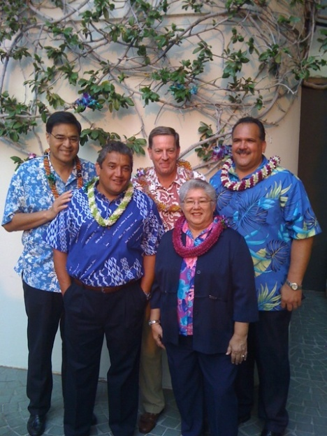 Mayors from the Hawaiian Islands with HVCB's John Monahan in LA to share aloha from Hawaii!