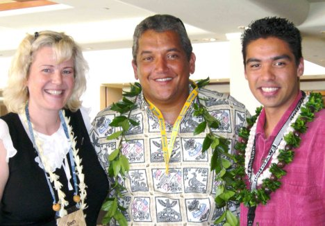 Beth Mehau, Mayor Billy Kenoi and Hamakua Youth Center representative Lanakila Mangauil