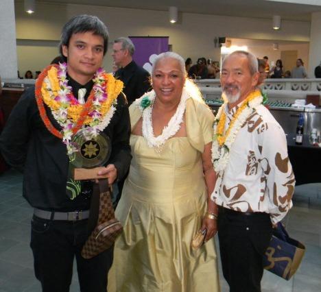 The Zane Family celebrates Kuhao Zanes Na Hoku Hanohano Award presented by the Na Hoku Festival for Best Graphics
