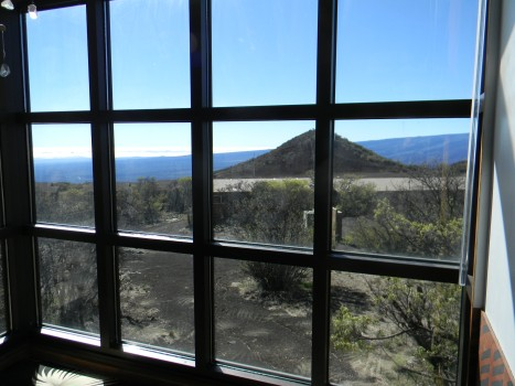 A view from a window inside the visitors information center