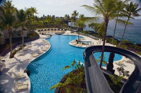 The Manta Ray Super Pool & Slide is a centerpiece at Sheraton Keauhou Bay Resort & Spa.