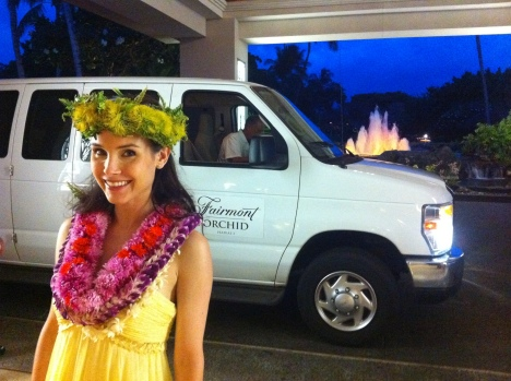 Kristina Anapau in front of the Fairmont Orchid at Mauna Lani