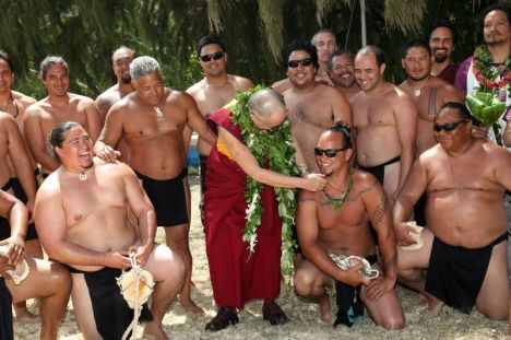 The Dalai Lama blessed the Hokulea at Kualoa Park last year.  Photo courtesy of Pillars of Peace