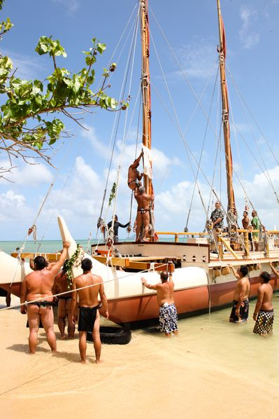 The Hōkūle'a being worked on. Picture courtesy of Pillars of Peace