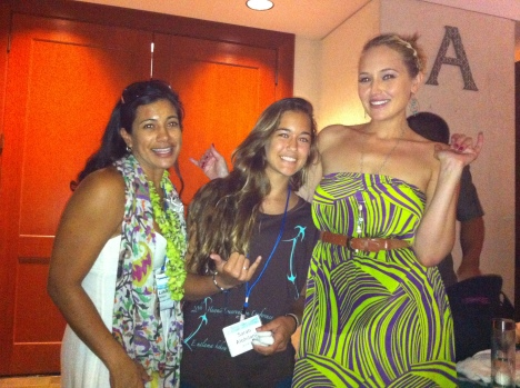 Hawaii Conservation Alliance Executive Director Lihla Noori and Anuhea with the youngest attendee of the 2012 Hawaii Conservation Conference