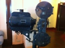 An old projector in the Hilo Palace Theater lobby.