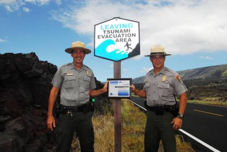 Hawai'i Volcanoes National Park Emergency Operations Coordinator John Broward (left) and Chief Ranger Talmadge Magno (right) were instrumental in helping the park achieve its  TsunamiReady/StormReady designation.  NPS Photo/Stephen Geiger