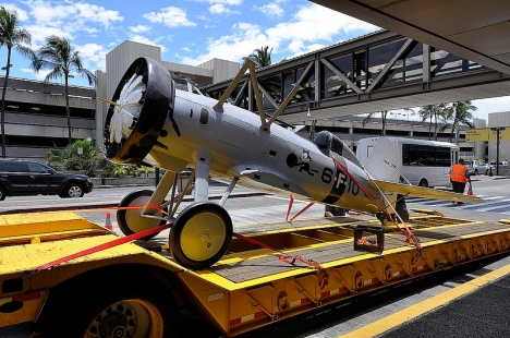 A full scale Boeing F4B-4 replica that has been at Honolulu International Airport for the past 6+ years is now at its new home at Pacific Aviation Museum Pearl Harbor.