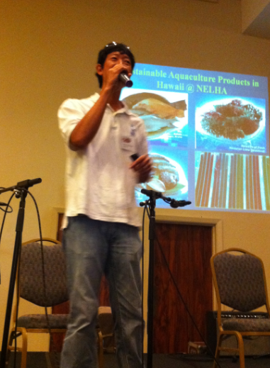 Guy Toyama gave a presentation at the 2012 Sam Choy's Keauhou Poke Contest