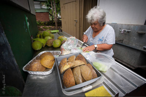 Auntie Shirley Kauhaihao of Ke'ei, South Kona, will be demonstrating how to select and prepare 'ulu fruit. (Photo by Craig Elevitch)