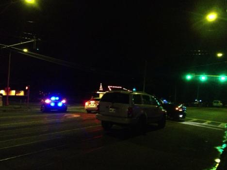 Two police officers were shot last night.  (Photo by David Corrgan/Big Island Video News)
