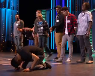 Tadeo falls to the ground after hearing the news on last nights American Idol.