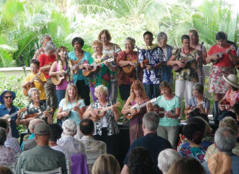Roy Sakuma performs with his workshop students at the Great Waikoloa 'Ukulele Festival.