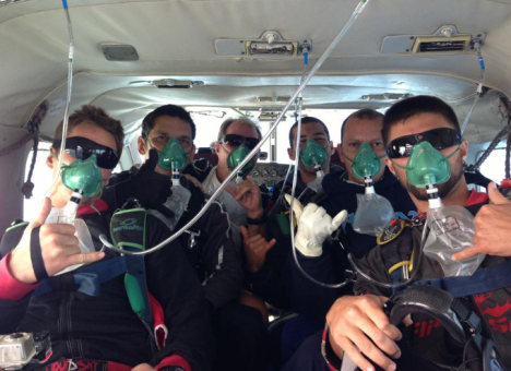 At 12,000 feet we donned oxygen masks as the air get's thinner the higher you go.