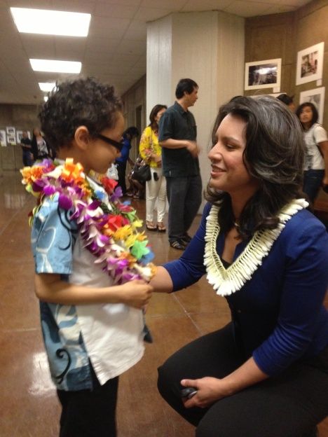 My son with Congresswoman Tulsi Gabbard at the State Capital