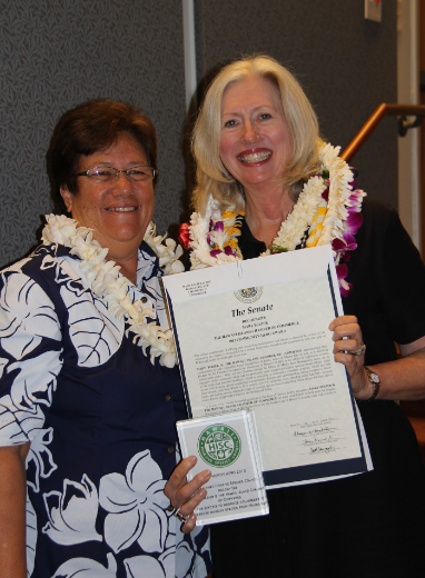 Senator Malama Solomon and  Mary Begier