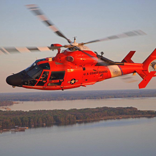 A Coast Guard MH-65 Dolphin helicopter