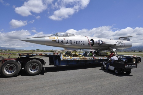 The iconic Lockheed F-104A Starfighter, Serial No. 56-817, arrived at Pacific Aviation Museum Pearl Harbor on May 9, 2013, joining the Museum's ever-expanding collection. The Starfighter is on long-term loan from Museum of Aviation Robins Air Force Base, Warner Robins, Georgia, and is the 43rd aircraft to join the Museum's collection of historical and unique aircraft. It was transported by Pasha Hawaii and will be displayed in Hangar 79.