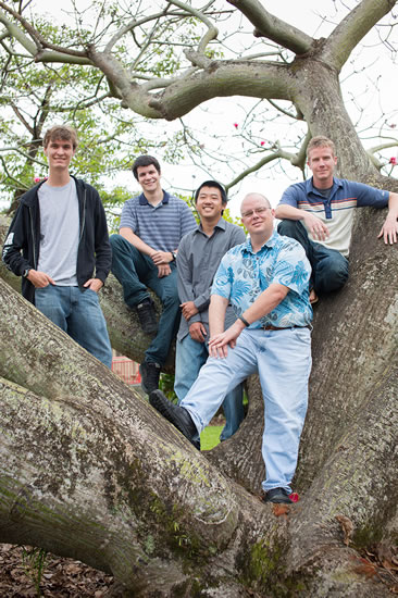 Team Poliahu - Featured from left to right: Ryder Donahue, Kayton Summers, Wallace Hamada, Professor Edwards and Mike Purvis.