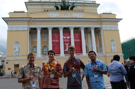 Team Poliahu in front of Alexandrinsky Theatre for the awards ceremony