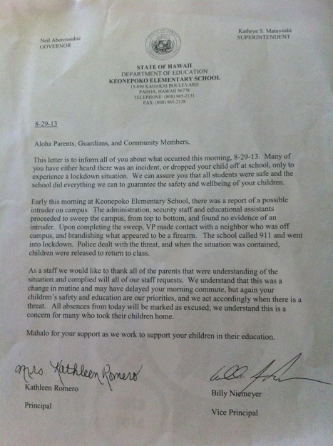 Letter that went home to parents of students at Keoneopoko