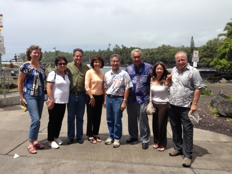 Some members of the Senate Ways and Means Committee at Pohoiki on the Big Island.