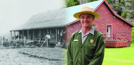 New & Old. Park Ranger Travis Delimont stands outside the 1877 Volcano House (now the Volcano Art Center), which was relocated to this location in 1921 as part of a major renovation of the Victorian-inspired Volcano House. NPS Photo Art by Jay Robinson.