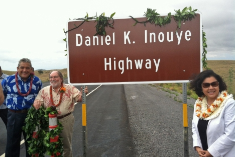 2013_09_07_Daniel_K_Inouye_Highway_02 Mrs. Irene Inouye, Governor Neil Abercrombie and Hawaii County Mayor Billy Kenoi dedicate the former Saddle Road as the Daniel K. Inouye Highway.