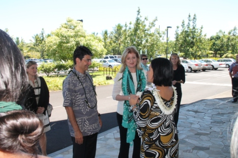 eBay Founder Pierre Omidyar and Huffington Post Founder Arianna Huffington are greeted at the Imiloa Astronomy Center in Hilo, Hawaii.