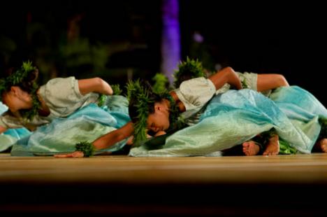 Halau Na Pua 'Uluhaimalama peforms a hula noho during the 2012 MOKIF competition.