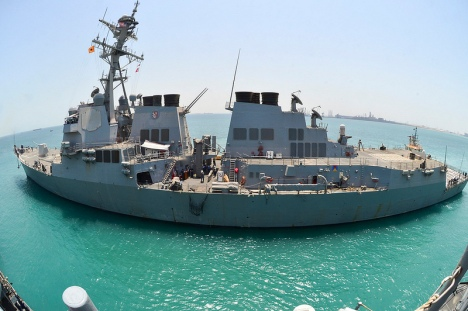 (July 3, 2013) The guided-missile destroyer USS Shoup (DDG 86) prepares to moor alongside the guided-missile cruiser USS Monterey (CG 61) in Khalifa Bin Salman port, Bahrain during a port visit. Monterey and Shoup are deployed in support of maritime security operations and theater security cooperation efforts in the U.S. 5th Fleet area of responsibility. (U.S. Navy photo by Mass Communication Specialist 3rd Class Billy Ho/Released)