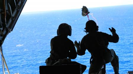 A Coast Guard aircrew from Air Station Barbers Point flew approximately 1,036 miles to airdrop a container of lifesaving blood to a cruise ship northeast of the Hawaiian islands Oct. 6, 2013. Personnel aboard the cruise ship Oosterdam contacted the Coast Guard requesting medical assistance for an ailing passenger. (U.S. Coast Guard photo) Read more: http://www.dvidshub.net/image/1031882/coast-guard-crew-airdrops-lifesaving-blood#.UlS4zBD3OZd#ixzz2hBbUlsG2