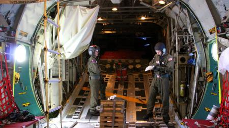 A Coast Guard aircrew from Air Station Barbers Point flew approximately 1,036 miles to airdrop a container of lifesaving blood to a cruise ship northeast of the Hawaiian islands Oct. 6, 2013. Personnel aboard the cruise ship Oosterdam contacted the Coast Guard requesting medical assistance for an ailing passenger. (U.S. Coast Guard photo)