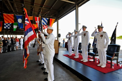 The official party salutes the colors during the ceremony. (U.S. Navy Photo by Mass Communication Specialist Seaman Johans Chavarro)