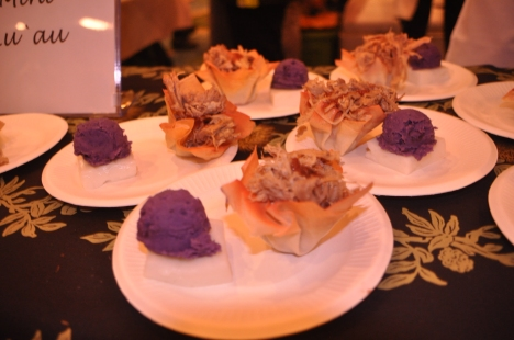 Kalua in wonton shells, sweet potato on haupia.  Underneath the Kalua there was a little dash of poi.