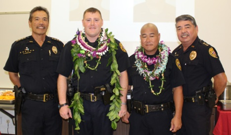 (from left to right) Police Chief Harry S. Kubojiri, Officer Joshua Gouveia, Officer Garrett Hatada, Deputy Police Chief Paul Ferreira