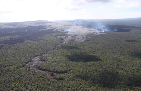Some of these surface flows are slowly expanding northward into the forest, creating vegetation fires. Puʻu ʻŌʻō is in the upper left.