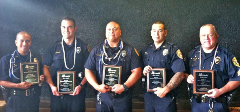Left to right: Officers Keith Nacis, Nicholas McDaniel, Christopher Kapua-Allison, Shea Nactor and Sergeant Christopher Gali.