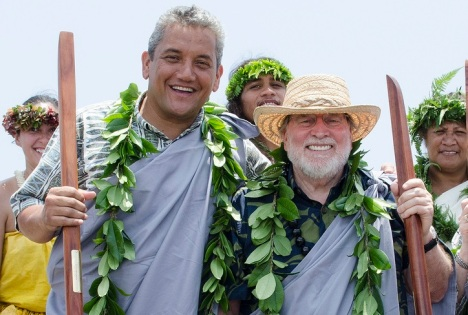 Mayor Kenoi and Gov. Abercrombie at the Palamanui Campus Groundbreaking