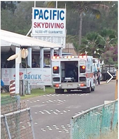 Ambulance arrives at Pacific Skydiving to take away the injured skydiver