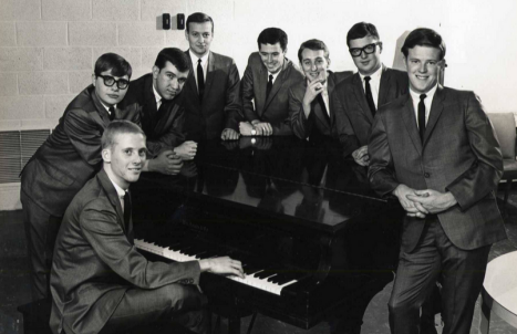 Shadow_Lake_Eight:  Circa 1963-64, the Shadow Lake Eight was considered one of the best dance bands in Oklahoma.  Gary Washburn far left, Kent Washburn, far right.  Photo courtesy Kent Washburn