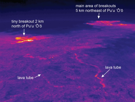 At the bottom of the image, the lava tube coming from Puʻu ʻŌʻō forks, with the eastern branch supplying lava to the main area of active breakouts (5 km, or about 3 miles, northeast of Puʻu ʻŌʻō) and the western branch feeding a small area of breakouts about 2 km (1.2 miles) north of Puʻu ʻŌʻō.