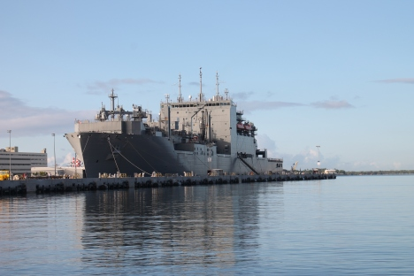 A Navy ship at Pearl Harbor last week.