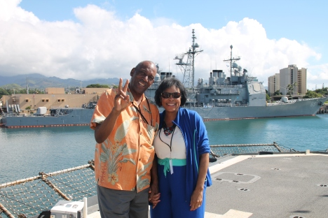 My Uncle and Aunt on the back end of the USS Lake Erie.
