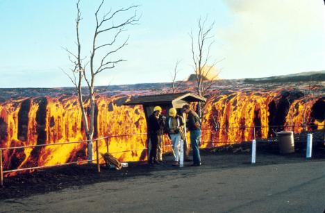"Lava ""waterfall"" from the Mauna Ulu eruption, Hawaii Volcanoes National Park. C. 1970"