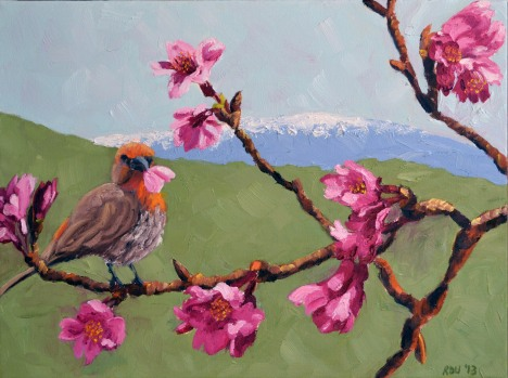 """Love These Cherry Blossoms!"" and artist Rani Denise Ulrich of Keauhou"