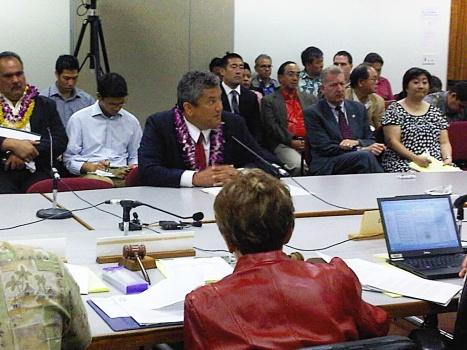 Mayor Kenoi testifying before the legislature in 2011.