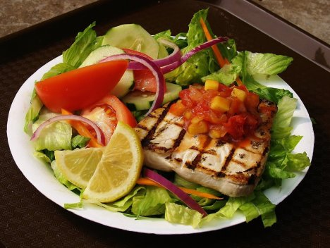 Fresh local salad with grilled fish and salsa from the new Hawaiian Fish N Chips at Queens' MarketPlace