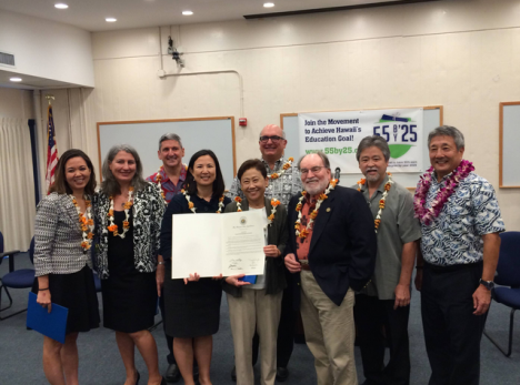 "The launch of phase II of the ""55 by '25"" campaign is celebrated by (L to R): Senator Jill Tokuda, Dr. GG Weisenfeld, David Lassner, Karen Lee, Kathryn Matayoshi, John La Forgia, Governor Neil Abercrombie, Rep. Roy Takumi, and John Komeiji."